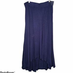 JM Collection Maxi Skirt High Low Hem Blue Large